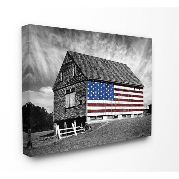 16 in. x 20 in.  ''Black and White Farmhouse Barn American Flag'' by James McLoughlin Canvas Wall Art
