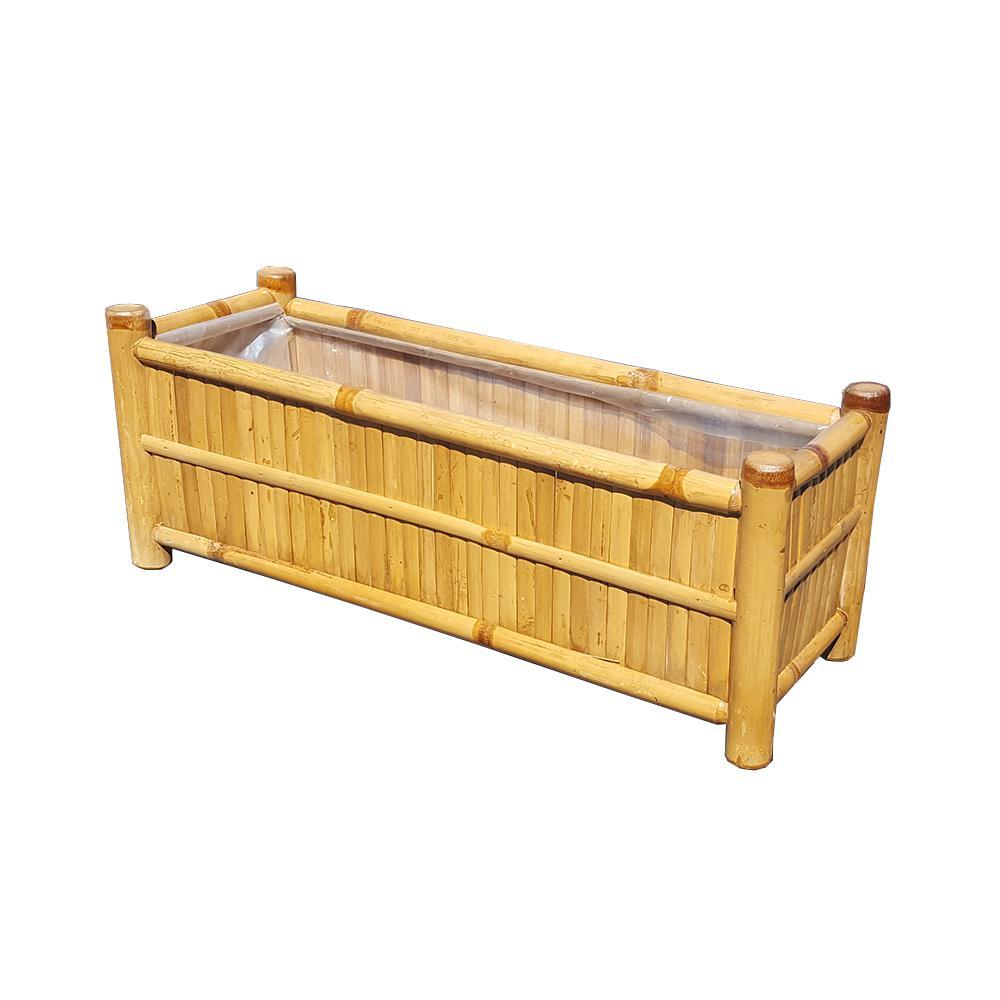 60 in. L x 9 in. W x 9 in. H Deck Rail Top Bamboo Planter