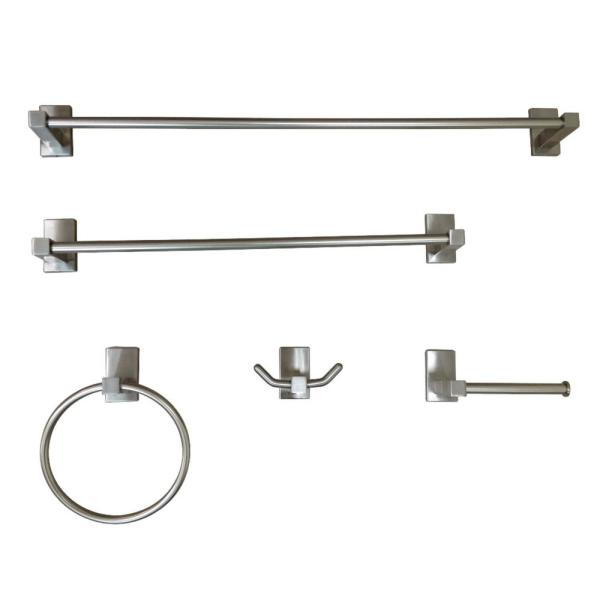Kingston Brass Modern 5 Piece Bath Hardware Set In Brushed Nickel Hbahk8212478sn The Home Depot