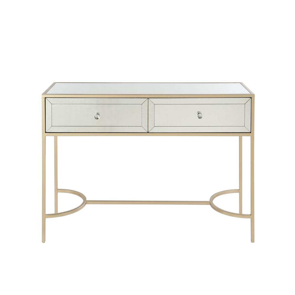 Acme Furniture Wisteria Mirrored And Rose Gold Sofa Table