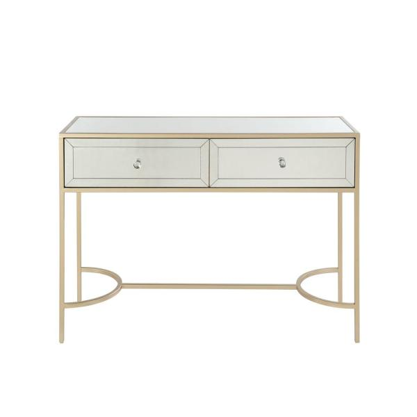 Acme Furniture Wisteria Mirrored And Rose Gold Sofa Table 80608