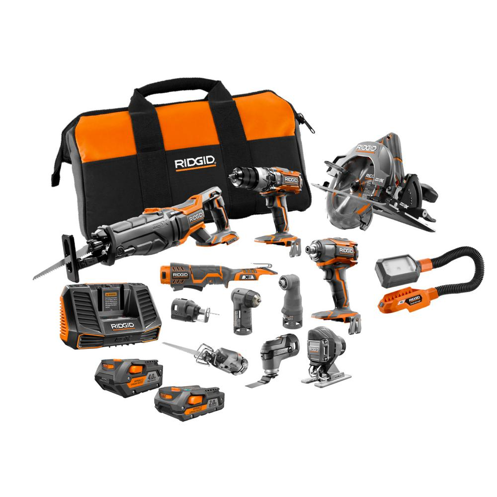 RIDGID 18-Volt Lithium-Ion Cordless 12-Piece Combo Kit with (1) 4.0 Ah Battery, (1) 2.0 Ah Battery, Charger, and Bag was $1215.76 now $799.0 (34.0% off)