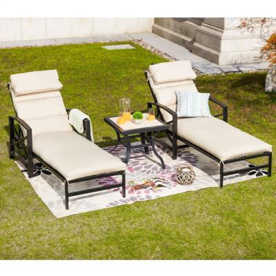 3-Piece Metal Outdoor Chaise Lounger with Beige Cushions