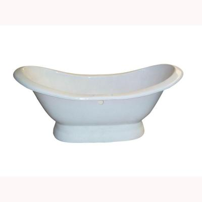 5.9 ft. Cast Iron Double Slipper Tub with No Faucet Holes on Base with Center Drain in White