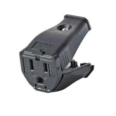 15 Amp 125-Volt 2-Pole 3-Wire Grounding Cord Outlet, Black