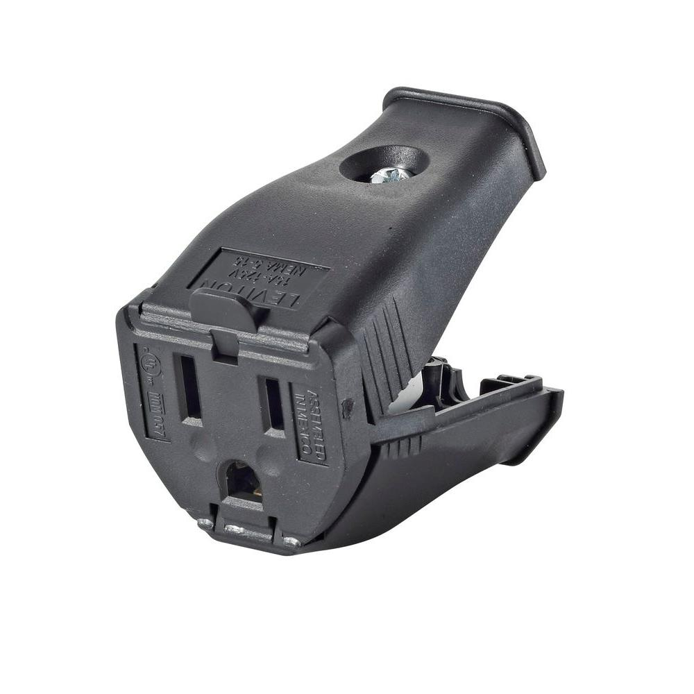 15 Amp 125 Volt 2 Pole 3 Wire Grounding Cord Outlet Black