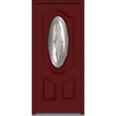36 in. x 80 in. Brentwood Right-Hand 3/4 Oval Lite 2-Panel Deluxe Classic Painted Fiberglass Smooth Prehung Front Door