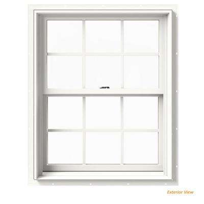 33.375 in. x 36 in. W-2500 Series White Painted Clad Wood Double Hung Window w/ Natural Interior and Screen