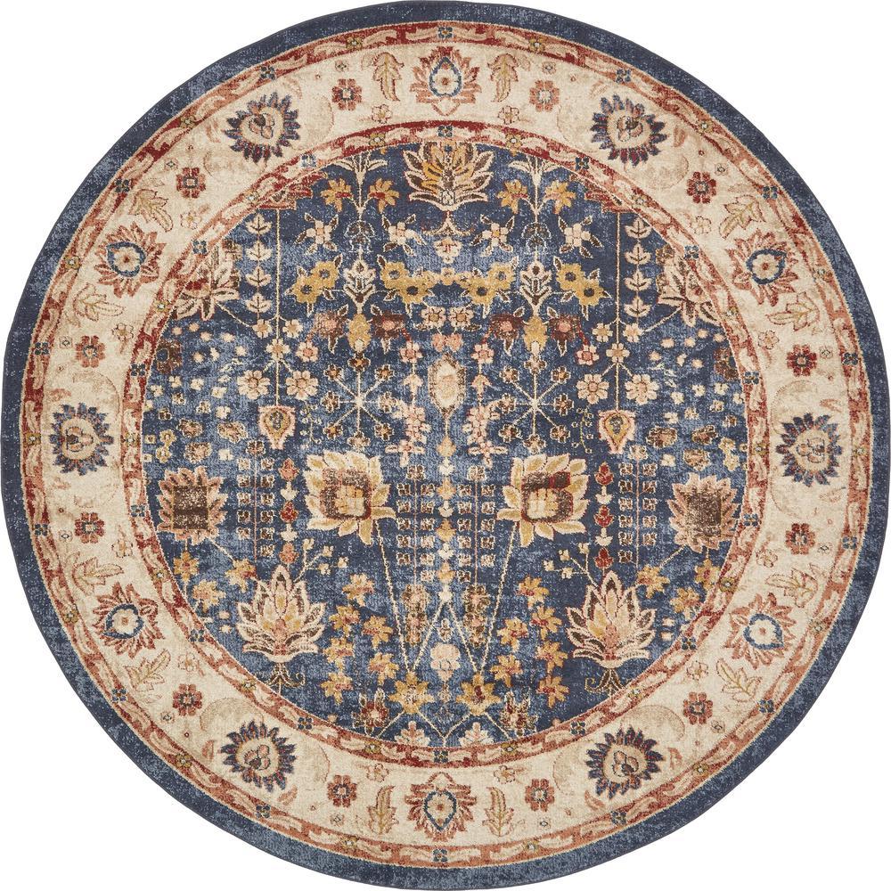 unique loom arcadia light blue 8 ft x 8 ft round area rug 3135310 the home depot. Black Bedroom Furniture Sets. Home Design Ideas