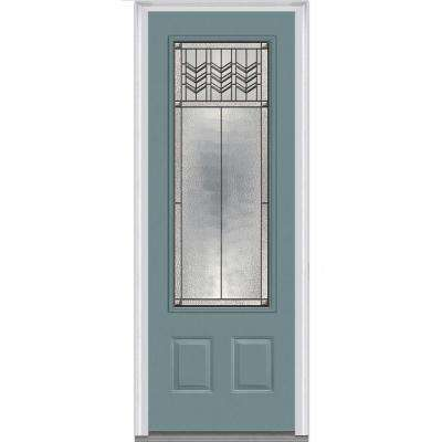 36 in. x 96 in. Prairie Bevel Right-Hand Inswing 3/4-Lite Decorative Painted Fiberglass Smooth Prehung Front Door