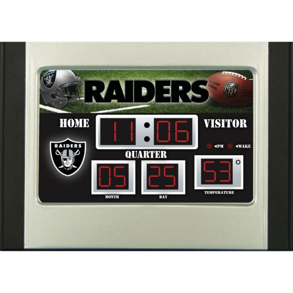 Oakland Raiders 6.5 in. x 9 in. Scoreboard Alarm Clock with Temperature