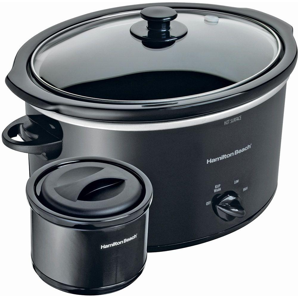 Hamilton Beach 5 qt. Slow Cooker and 2-Cup Food Warmer in Black-DISCONTINUED