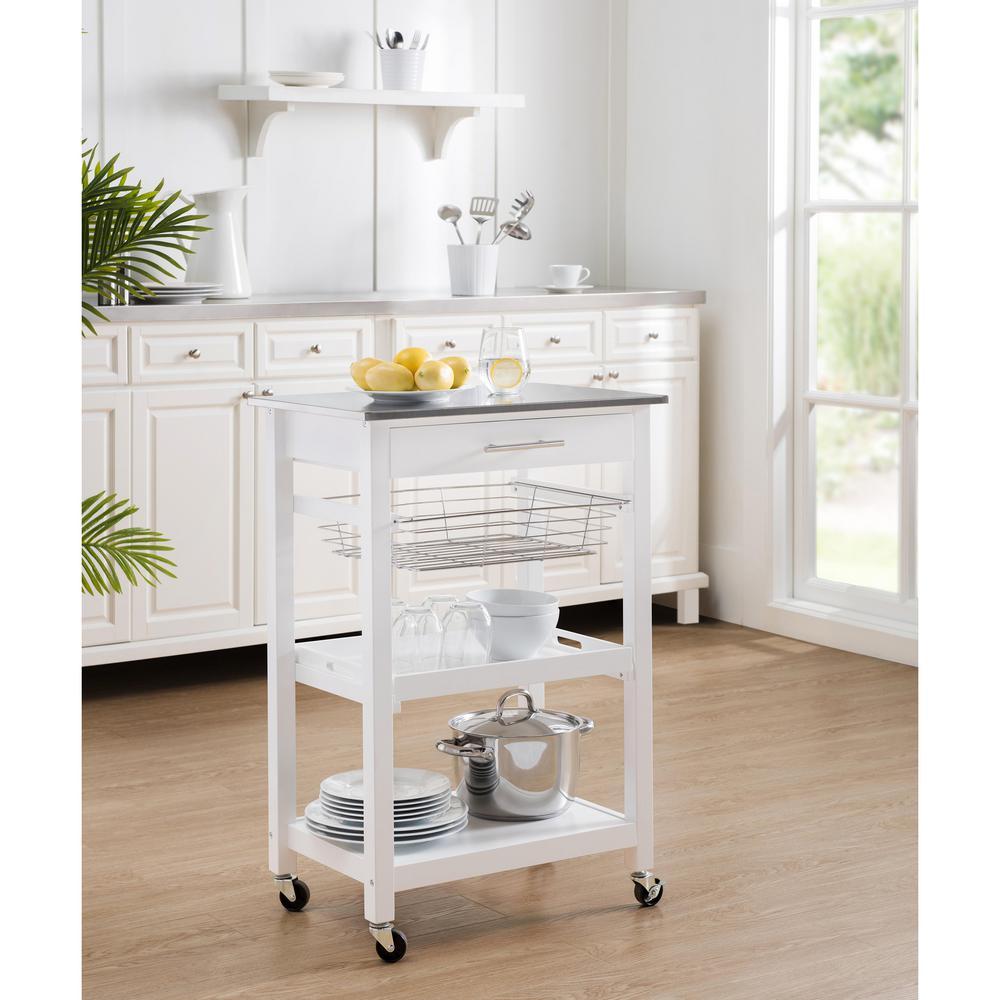 Sunjoy Linda Rolling Kitchen Island Cart with Storage Shelf ...