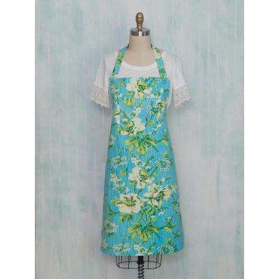 Water Lily Turquoise Floral Chef Apron