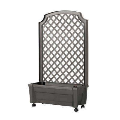Calypso 31 in. x 13 in. Anthracite Plastic Planter with Trellis and Water Reservoir