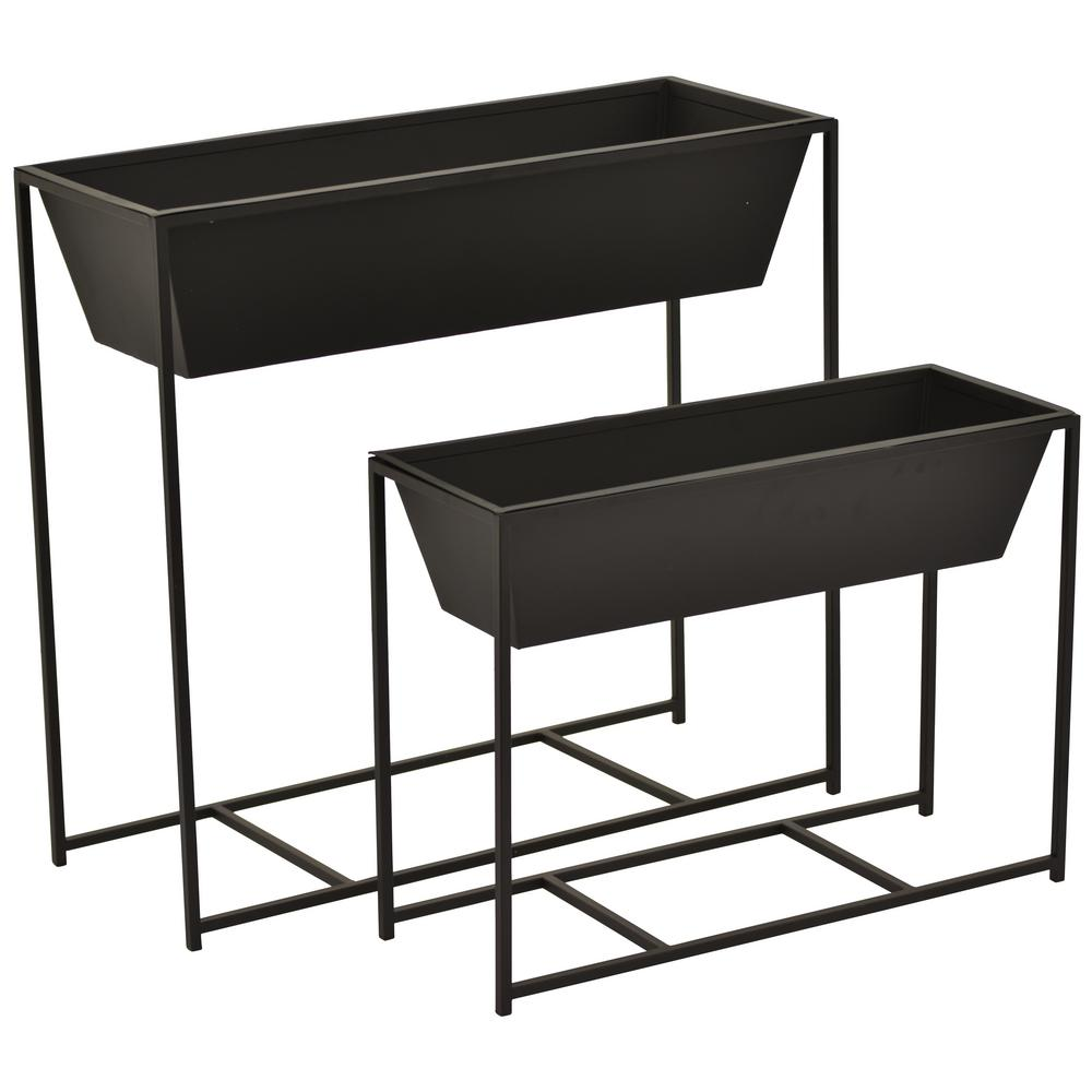 21217bb046c9 THREE HANDS 23.5 in. Metal Flower Pot Stands (2-Set)-14077 - The ...