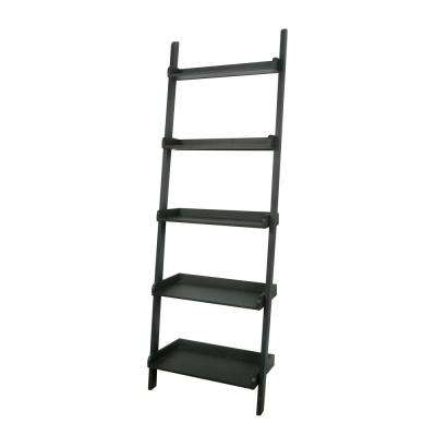 Leaning Black Ladder Bookcase