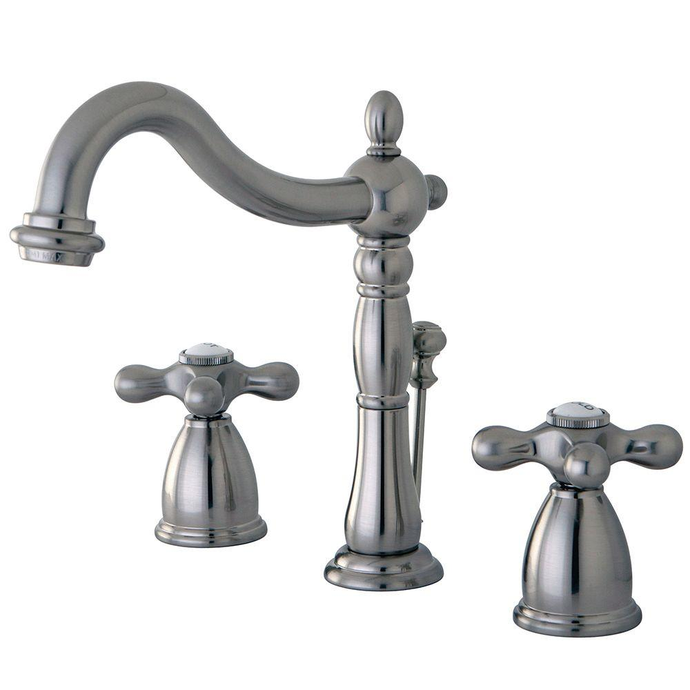 Kingston brass victorian 8 in widespread 2 handle bathroom faucet in satin nickel hkb1978ax for Victorian widespread bathroom faucet cross handles