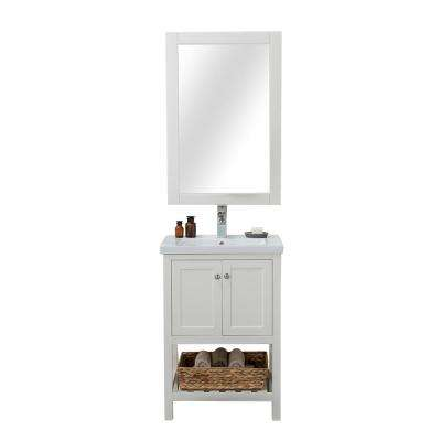 Vineland 24 in. W x 18.25 in. D x 34.75 in. H Vanity in White with Porcelain Top in White with White Basin