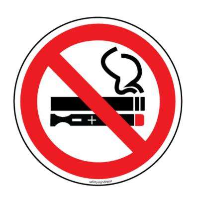 No Smoking No Vaping Electric Cigarettes Stickers 6 in. Circular Vinyl Decals (4-Pack)