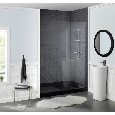 Voltaire 60 in. x 36 in. Acrylic Single-Threshold Left Drain Shower Base in Black