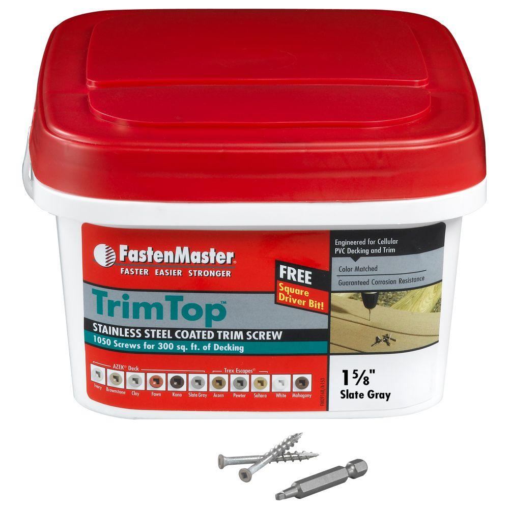 FastenMaster TrimTop 1-5/8 in. Stainless Steel Slate Gray Trim Screw (1050 per Pack)