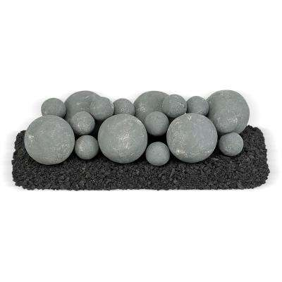 18 in. x 6 in. Cape Gray Mixed Set, 6-4 in. Lite Stone Balls, 14-2 in. Lite Stone Balls with 5 lbs. Small Lava Rock