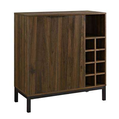 Dark Walnut Bar Cabinet with Wine Storage