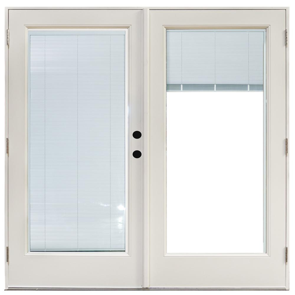Mp Doors 72 In X 80 In Fiberglass Smooth White Left Hand Outswing Hinged Patio Door With Low E Built In Blinds