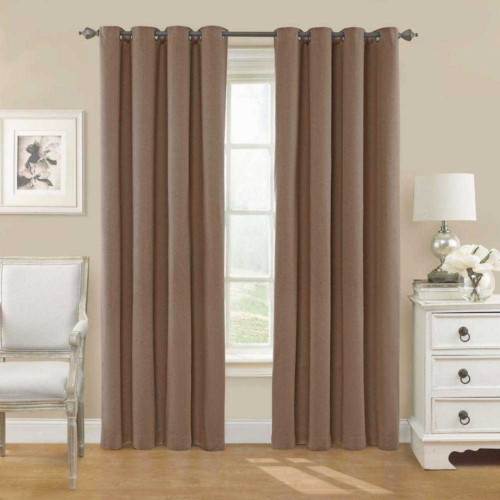 Eclipse Nadya Solid Blackout Window Curtain Panel in Smoke - 52 in. W x 84  in. L