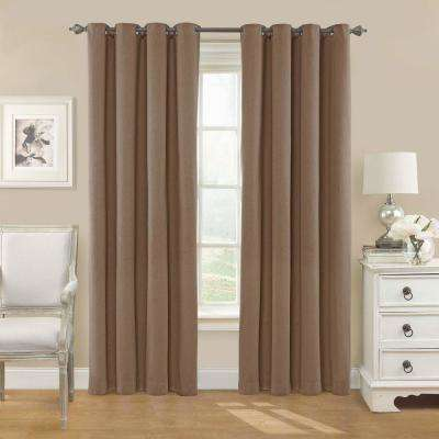 Nadya Solid Blackout Window Curtain Panel in Teak - 52 in. W x 63 in. L