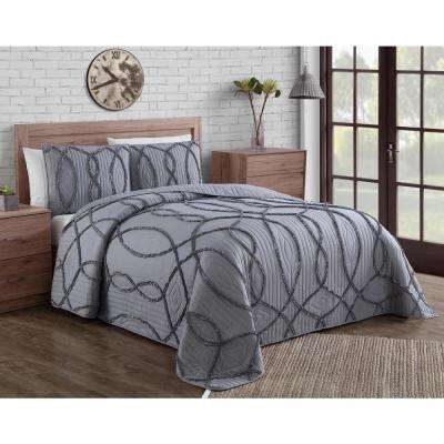 Sonora Ruffle Grey King Quilt Set (3-piece)