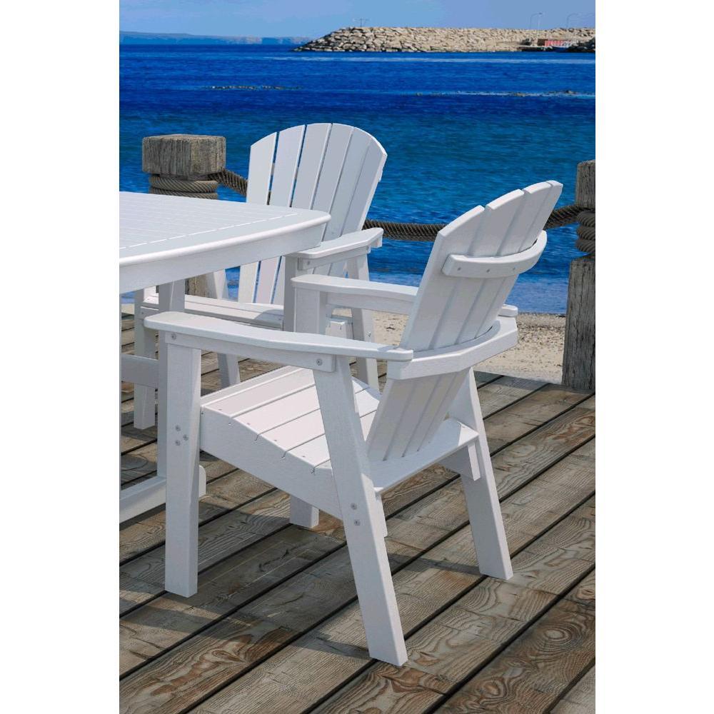 Polywood Seashell White Patio Conversation Chair