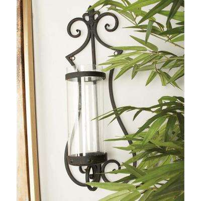 25 in. Black Iron Fleur de Lis Wall Sconce