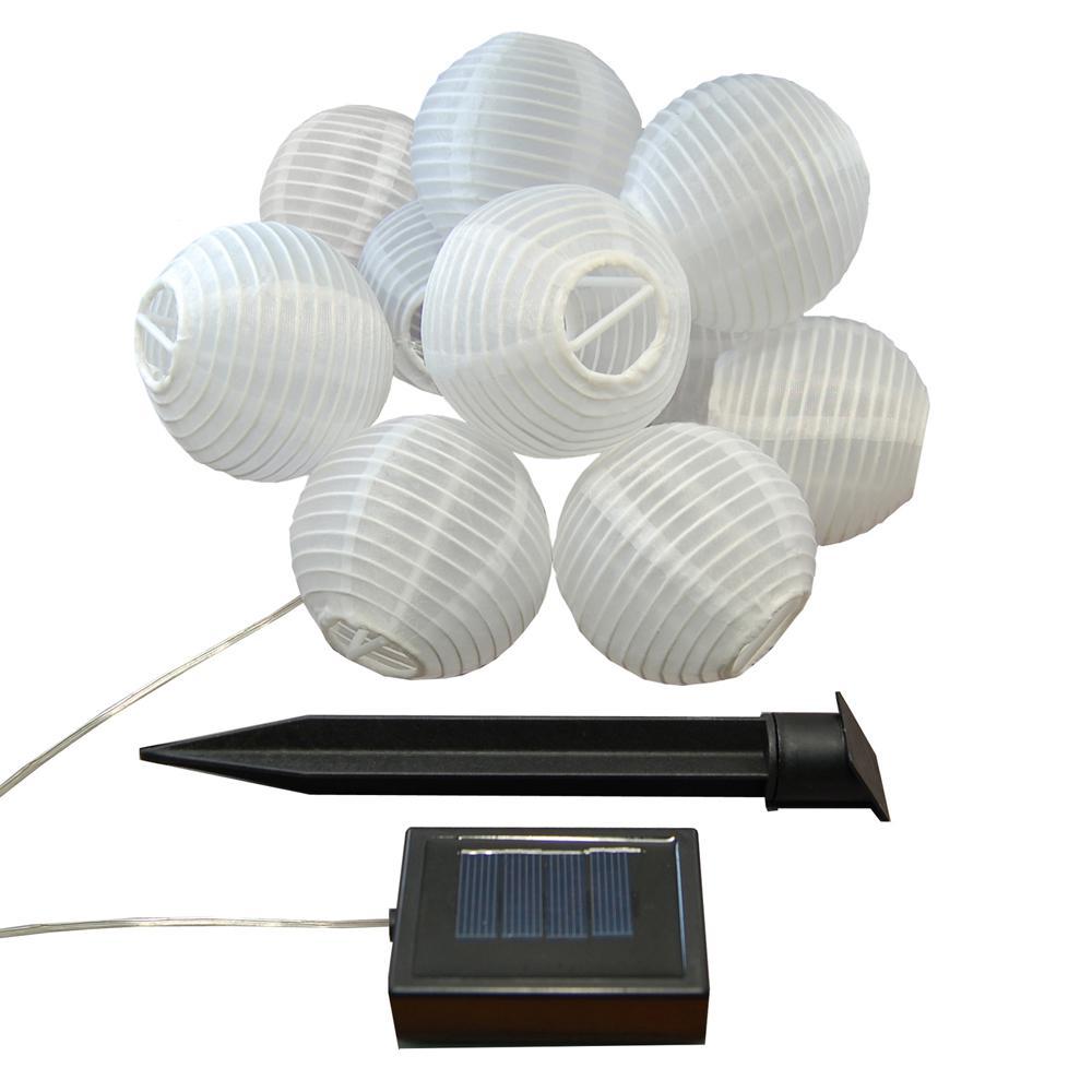 3 in. Solar White Nylon String Lights (10-Light)