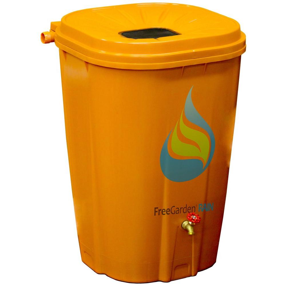 55 Gal. Terra Cotta Rain Barrel with Brass Spigot and Rain
