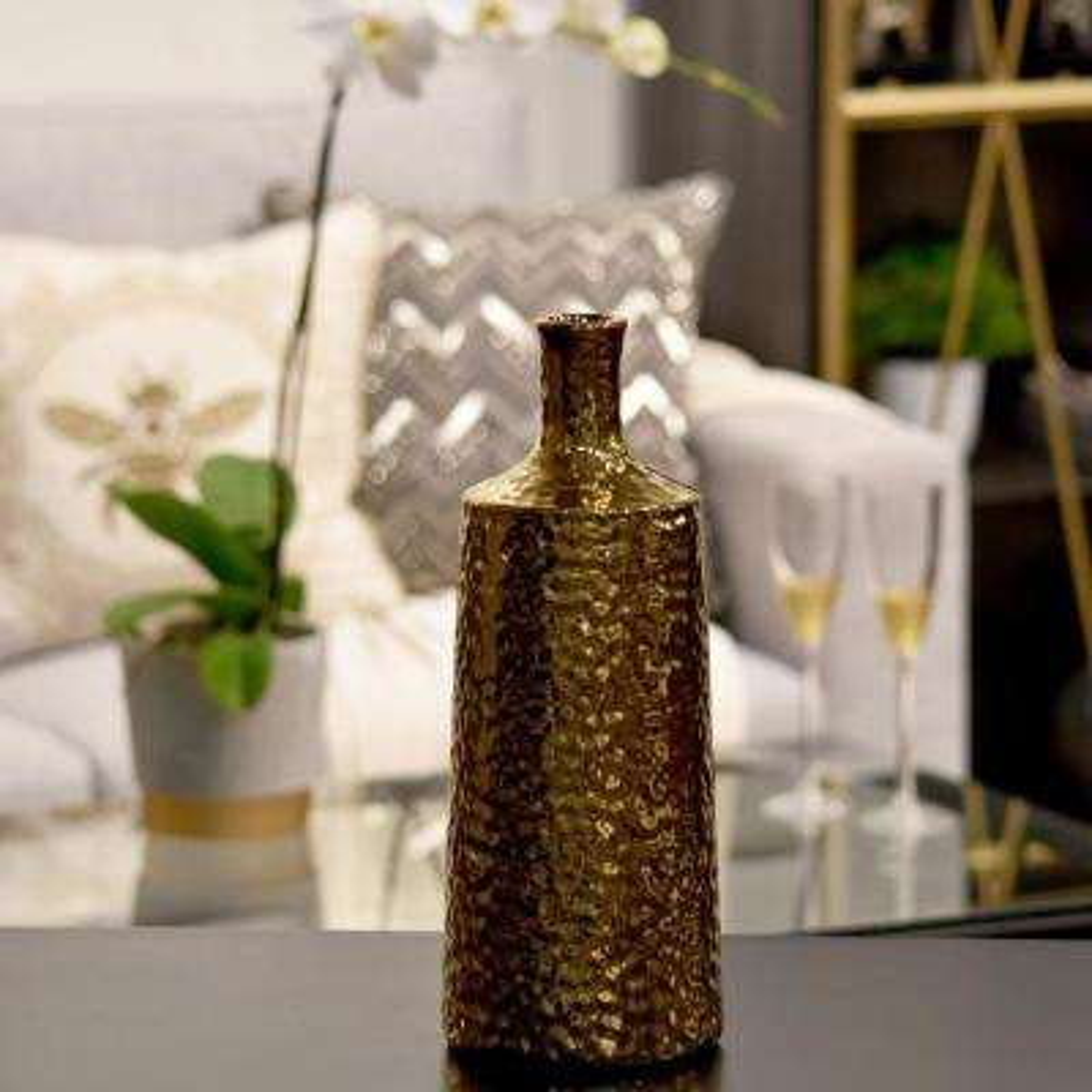Gold Electroplated Ceramic Decorative Vase
