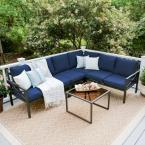 Blakely Black 5-Piece Aluminum Outdoor Sectional Set with Navy Cushions
