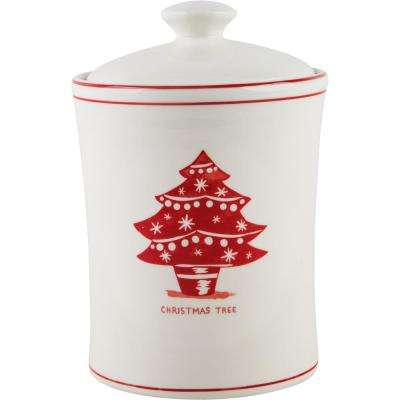 9 in. H Christmas Tree Canister with Lid