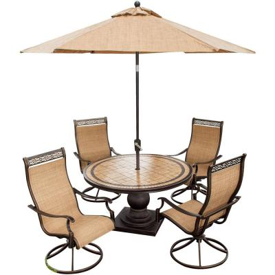 Monaco 5-Piece Outdoor Round Patio Dining Set and 4 Swivel Rockers and Umbrella