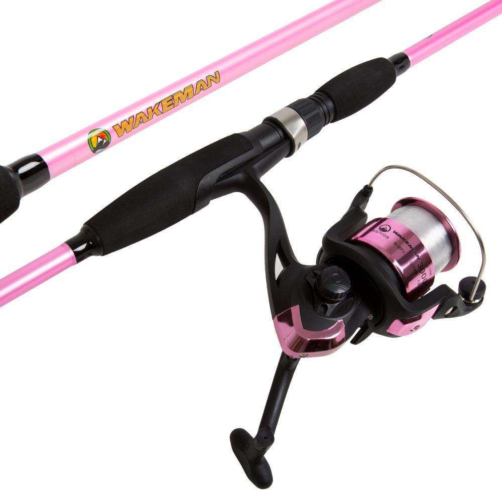 Wakeman strike series spinning rod and reel combo in hot for Walmart fishing reels