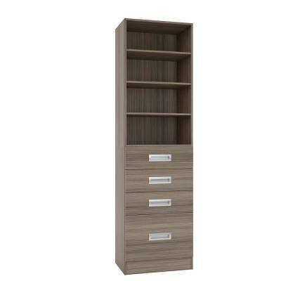15 in. D x 24 in. W x 84 in. H Firenze Platinum Melamine with 4-Shelves and 4-Drawers Closet System Kit