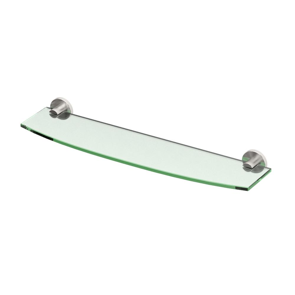Channel 20.13 in. W Glass Shelf in Satin Nickel
