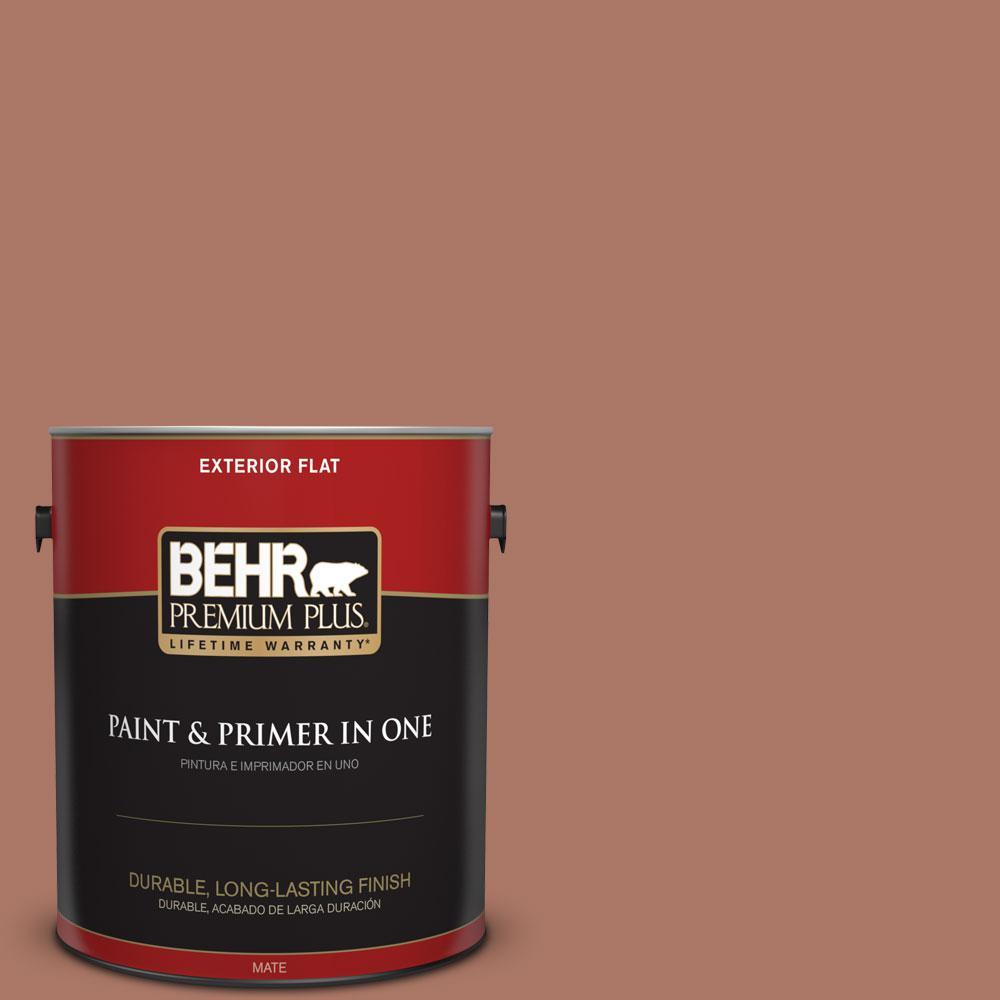 BEHR Premium Plus 1-gal. #210F-6 Chutney Brown Flat Exterior Paint