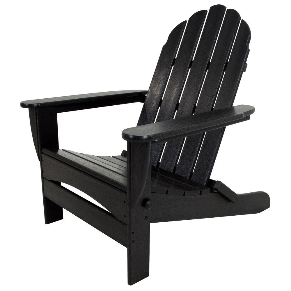 Classic Black Oversized Curveback Plastic Patio Adirondack Chair