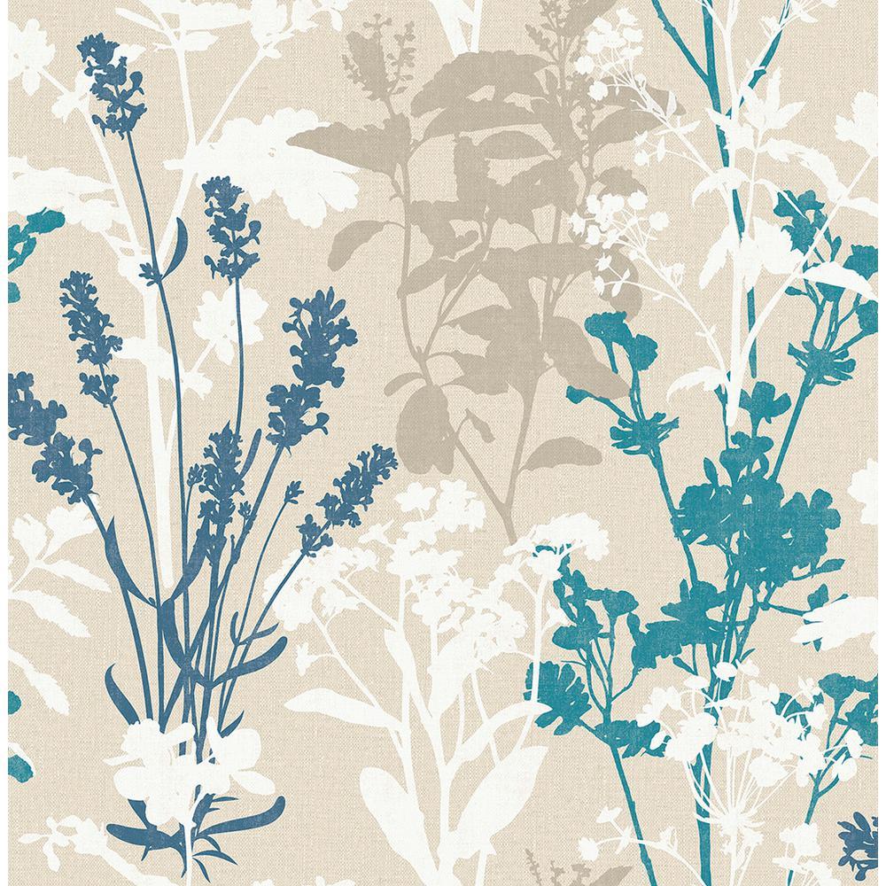 56.4 sq. ft. Santa Lucia Blue Wild Flowers Wallpaper