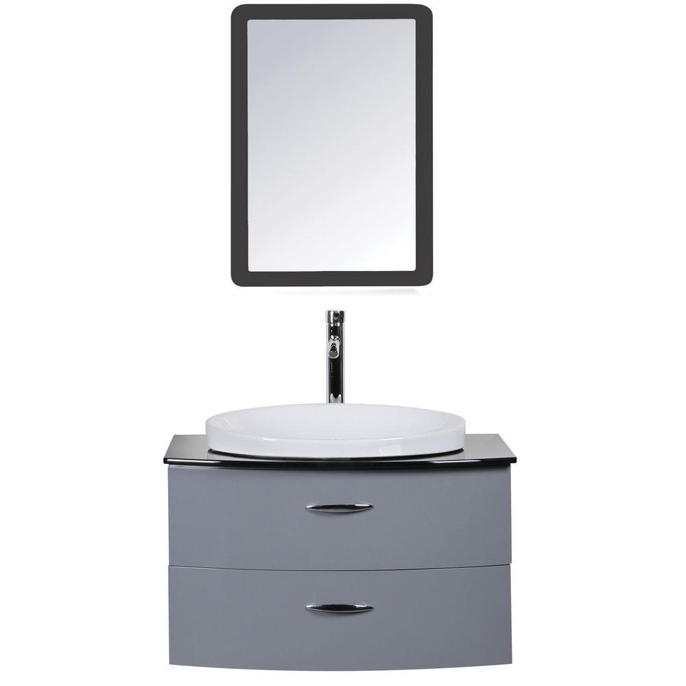 Decor living adora 32 in w x in d vanity in gray for Decorative vanity sinks