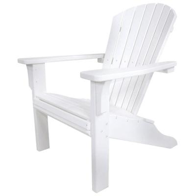 Seashell White Plastic Patio Adirondack Chair