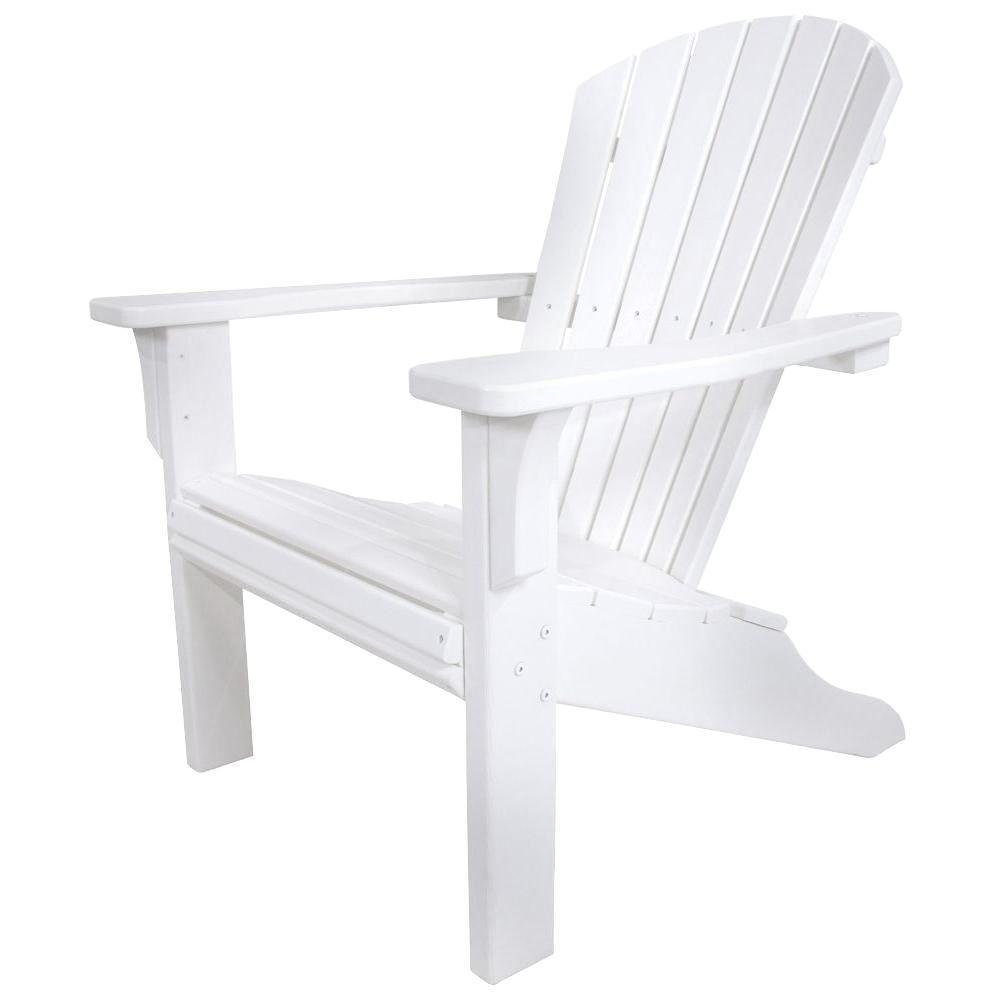 Seashell White Plastic Patio Adirondack Chair
