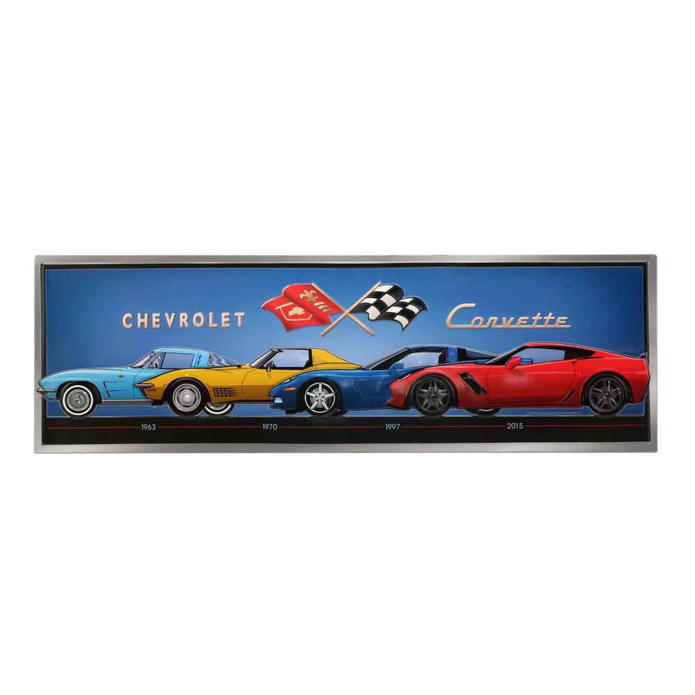Corvette Line Up Embossed Tin Decorative Sign